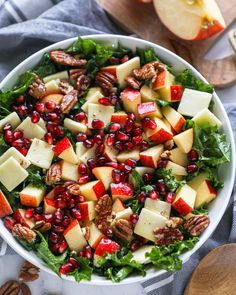 Crisp apples, pomegranates arils, white cheddar cheese and tender kale is all tossed together in a maple-mustard dressing and topped with toasted pecans! It's a sweet and savory salad lover's dream! Kale Apple Salad, Apple Salad Recipes, Pomegranate Recipes, Kale Salad, Healthy Salad Recipes, Pomegranate Salad, Healthy Lunches, Pasta Salad, Cobb Salad