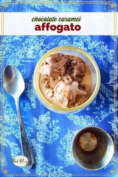 Chocolate Caramel Affogato is a simple three ingredient dessert that is the perfect way to top off any meal be it a weeknight leftover night or an elegant 5 course meal. #easydessert #chocolateandcoffee #espressodessert #elegantdessert #italiandessert #icecreamdessert