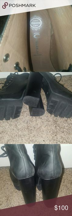 Jeffrey Campbell platform booties Black leather chunky booties, perfect for the winter months Jeffrey Campbell Shoes Ankle Boots & Booties