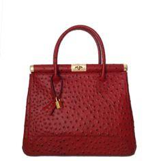 Classic Ostrich Italian Leather Handbag