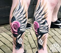 Face with feathers tattoo by A D Pancho