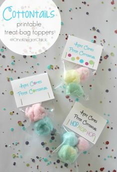 These Cottontail Treats {with cute free printable bag topper} make adorable Easter basket stuffers or party treats. party treats Cottontail Treats {with printable bag topper} - onekriegerchick Bunny Party, Easter Party, Easter Gift, Easter Table, Easter Decor, Hoppy Easter, Easter Bunny, Easter Eggs, Bunny Birthday