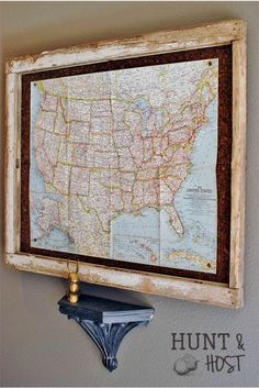 Make a map display from an old window frame. Then track your family's travels. www.huntandhost.com