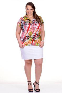 Moda feminina plus size   86945 Camisete de cetim com estampa floral