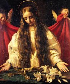 Santa Filomena by Giuseppe Bezzuoli (Saint Philomena) - one of my very favorite saints. Catholic Art, Catholic Saints, Roman Catholic, Religious Art, Patron Saints, Madonna, St Dymphna, Marie Madeleine, Mary Magdalene