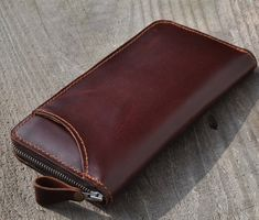 Genuine Long MXS  Leather wallet with lagre zipper-Men wallet--Brown Leather purce -large capacity via Etsy