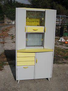 Vintage Retro Shabby Chic 1950 60s Grey Yellow Kitchen Larder Cabinet Cupboard
