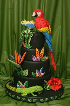 Venezuela Cake The Parrot, Lizzard and flowers are handmade modeled and all edibles. Sweet Cakes, Cute Cakes, Bird Cakes, Cupcake Cakes, Zoo Da Zu, Beautiful Cakes, Amazing Cakes, Rio Cake, Bird Cage Cake