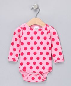 Take+a+look+at+the+Zootie+B.+Little+Pink+Polka+Dot+Long-Sleeve+Bodysuit+-+Infant+on+#zulily+today!