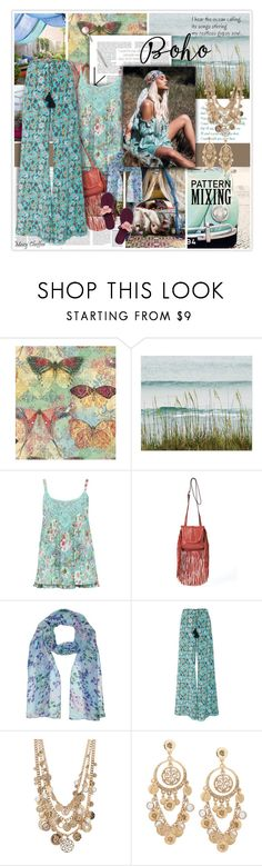 """""""I hear the ocean calling to my gypsy soul..."""" by mcheffer ❤ liked on Polyvore featuring M&Co, Joe's Jeans, Figue, R.J. Graziano, Tory Burch and patternmixing"""