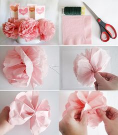 Bridal Shower Tissue Paper Bouquets | These would be so cute for a bridal shower centerpeice!
