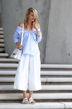 culottes with off shoulder top and birkenstocks