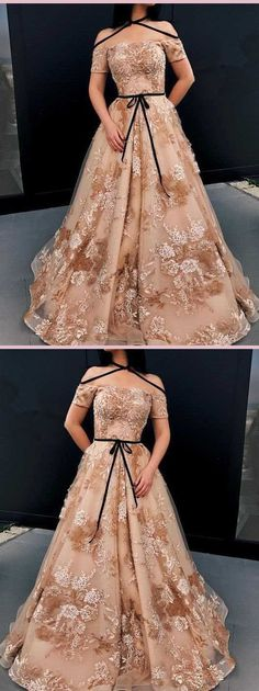 A-line Off The Shoulder Unique Modest Women Long Prom Dress with Appliques,Sexy Party Dress,Formal Unique Prom Dresses, Popular Dresses, Modest Dresses, Ball Dresses, Homecoming Dresses, Cute Dresses, Ball Gowns, Formal Dresses, Dress Prom