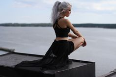 woman with black crop top and shorts white hair Miranda Hedman black clothing platinum blonde women outdoors looking into the distance black outfits depth of field Crop Top Et Short, Black Crop Tops, Bad Fashion, Rock Fashion, Crop Top And Shorts, Blonde Women, Girl Wallpaper, Pastel Wallpaper, Wallpaper Desktop
