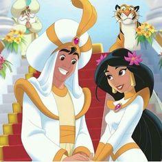 A beautiful marriage. A beautiful and cute couple as Aladdin and Jasmine. Disney Pixar, Disney Films, Disney Animation, Disney Love, Disney Magic, Disney Characters, Disney Princess Jasmine, Aladdin And Jasmine, Princesas Disney Dark