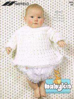Hayfield 1900 baby angel top matinee dress vintage by Ellisadine