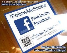 Large Window Cling - Large Social Media Decal - Facebook Variation! Custom Username, Custom QR code! http://followmesticker.com