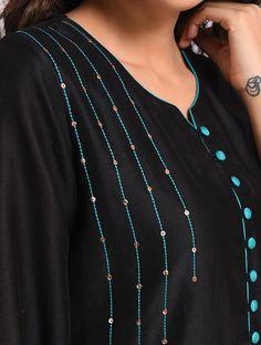 Kurti Sleeves Design, Sleeves Designs For Dresses, Kurta Neck Design, Neck Designs For Suits, Neckline Designs, Dress Neck Designs, Embroidery On Kurtis, Hand Embroidery Dress, Kurti Embroidery Design