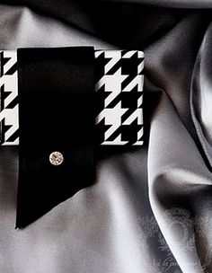 love the way this package is wrapped - looks like a velvet cuff! #packaging The black satin ribbon is cut on an angle with a rhinestone attached.  Beautiful!