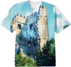 Sparkling Blue Drachenfels Castle Ruin T-Shirt from Print All Over Me