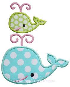 Two Whales Applique Design