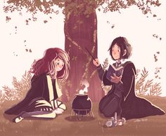 """Snape and Lily by Space Dementia gif - Severus: """"Thought we were supposed to be friends? Best friends?"""" Lily: """"We are, Sev."""""""