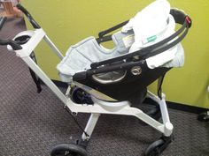 Orbit G2 Stroller and Carseat | Orbit G2 can dock and rotate your baby, 360 degrees on the stroller so your baby can be rear facing or forward facing.  Frame folds with one-handed, twist-and-lift motion.  Has built-in cupholder