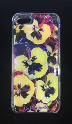 NEW DEBBIE BROOKS IPHONE 5 CLEAR COVER PANSIES FLOWERS YELLOW SWAROVSKI CASE #DEBBIEBROOKS
