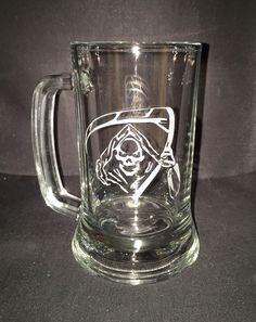 Hand etched Grim reaper beer mug or Rocks glasses by CustomCrystalGlassDe on Etsy