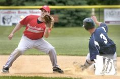 Manchester shortstop Tom Miller takes a throw, too late to tag a sliding Mason Heyne of Glen Rock. Manchester at Glen Rock Central League game, May 27, 2013,   Bil Bowden photos