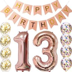 13th Birthday decorations Party supplies-13th Birthday Balloons Rose Gold,13th birthday banner,Table Confetti decorations,13th birthday gifts for girls,use them as Props for Photos - http://partysuppliesanddecorations.com/13th-birthday-decorations-party-supplies-13th-birthday-balloons-rose-gold13th-birthday-bannertable-confetti-decorations13th-birthday-gifts-for-girlsuse-them-as-props-for-photos.html