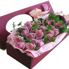 Rose Box H  21 purple roses, match greenery, arrange in a long box, pink bowknot. Purple rose should order 2 days in advance.