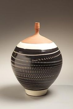 Kondô Yutaka (1932 - 1983) Black glazed stoneware vase with impressed and rouletted patterning and white slip inlay, 1973 Stoneware with black and white glazes 13 x 9 1/2 inches; Inv# 6643 SOLD