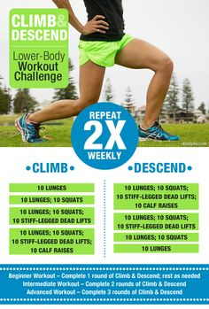 Climb & Descend Workout Challenge will have your lower-half looking defined, toned and lifted (in all the right places)...and all before summer. #workouts #fitness