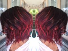 Ruby red ombre on short hair                                                                                                                                                                                 More