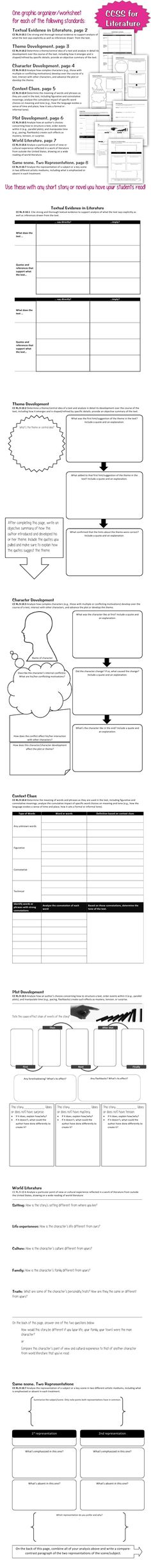 7 Graphic Organizers to use with ANY short story/novel for high school (one page for each of the following Common Core State Standards: Literature 9-10.1, 9-10.2, 9-10.3, 9-10.4, 9-10.5, 9-10.6, 9-10.7)