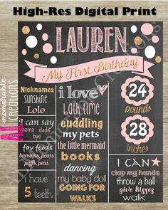 Glitter Polka Dot Chalkboard/Girl's First Birthday Chalkboard/First Birthday Poster/Baby's Birthday/Personalized Milestones/Custom Stats by ALMemorableCreations on Etsy First Birthday Posters, Gold First Birthday, First Birthday Chalkboard, Minnie Birthday, Baby 1st Birthday, First Birthday Parties, First Birthdays, Diaper Raffle Tickets, Pink And Gold
