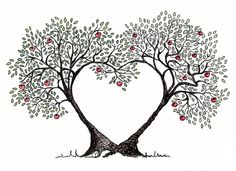 Trees in love. Could be wallhanging, needle point, or tattoo. So many options!