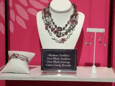 Premier Designs - Shadows (16-inch Necklace) - $53; First Blush (36-inch Necklace) - $56; First Blush (fishhook Earrings) - $32; Cotton Candy 8 1/4-inch Bracelets) - $46