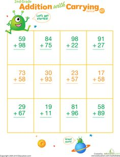math worksheet : 2 digit addition with regrouping  carrying  5 worksheets  : Carry Over Addition Worksheets