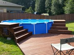 The post appeared first on Garten ideen. Above Ground Pool Landscaping, Above Ground Pool Decks, Above Ground Swimming Pools, Coleman Pool, Decks Around Pools, Pool Deck Plans, Pool Steps, Backyard Pool Designs, Diy Pool