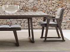 Upholstered garden chair with armrests Gio Collection by B