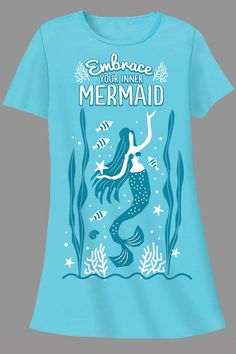 """""""EMBRACE YOUR INNER MERMAID' printed on all cotton Sleepshirt and matching drawstring bag it comes in. Very comfortable to sleep in, also great for lounging, beach or pool.   Mermaid Sleepshirt by Patricia's Presents. Clothing - Lingerie & Sleepwear - Sleepwear Ridgefield, Connecticut"""