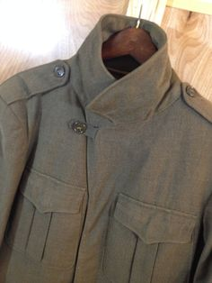 35ae285799e Mens USA Army IKE Wool Coat - 1944 Vintage - size 38R - Eisenhower Military  Jacket - Drab Green