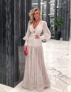Material: Polyester Silhouette: A-Line Dress Length: Floor-Length Sleeve Length: Long Sleeve Sleeve Type: Lantern Sleeve. Types Of Sleeves, Dresses With Sleeves, Fancy Wedding Dresses, Wedding Gowns, Colour Blocking Fashion, Boho Gown, Royal Dresses, Swing Skirt, Event Dresses