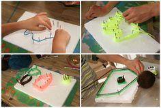 Fijne motoriek, creativiteit, concentratie en een prachtig resultaat.  Voor kleinere kinderen kun je dit variëren door minder spijkers te gebruiken, zo dat de vormen makkelijker zijn.  Nog een uitdaging meer komt met een houten plank, in plaats van styropor.