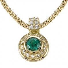 Round Emerald & Round Diamond Pendant with Fope Chain