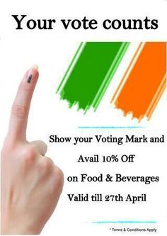 Show your VOTING MARK & avail 10% off on food & beverages @ Grand Palace Hotel & Spa...