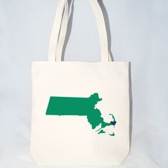 Large cotton totes for hotel guests. massachusetts welcome bags fully customizable with heart location, colors, state, text, bag size fill with locally inspired welcome bag gifts www.mokoandco.com