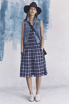 your sneak peek at madewell's spring 2016 collection: plaid midi dress, denim vest, white oxfords, wide-brim hat + mini transport crossbody. pre-order your favorites now by calling 866-544-1937 (434-385-5792 for our international friends) or email shopfirst@madewell.com to get first dibs  #everydaymadewell